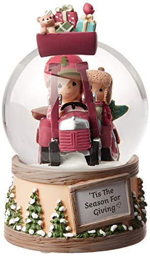 Precious Moments Tis The Season for Giving Father Son Resin and Glass Musical Snow Globe 191034 Waterball, One Size, Multi