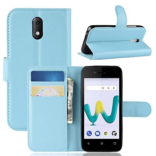 HongMan Handyhülle für Wiko Sunny 3 Mini Hülle, Premium Leder PU Flip Hülle Wallet Lederhülle Klapphülle Magnetisch Silikon Bumper Schutzhülle Tasche mit Kartenfach Geld Slot Ständer, Blau
