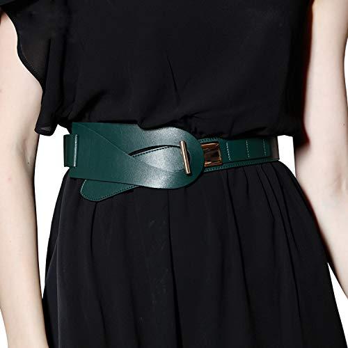 FIORETTO Womens Dress Belts Italian Genuine Leather Belts Elastic Waistband Stylish Leather Belts (L/XL, Dark Green)