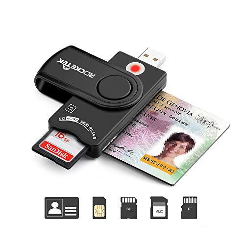 USB-Smartcard-Leser, CAC/DOD Military USB-Kartenleser, SDHC/SDXC/SD- und Micro-SD-Kartenleser für SIM und MMC RS & 4.0, kompatibel mit Windows, Linux/Unix, Mac OS X