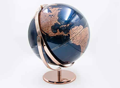 Mascagni 20FO1565 Globe terrestre Lumineux Vertical pivotant-Couleur Bleu-Rétroéclairage LED-Mappemonde Diamètre 30 cm, Taille Unique