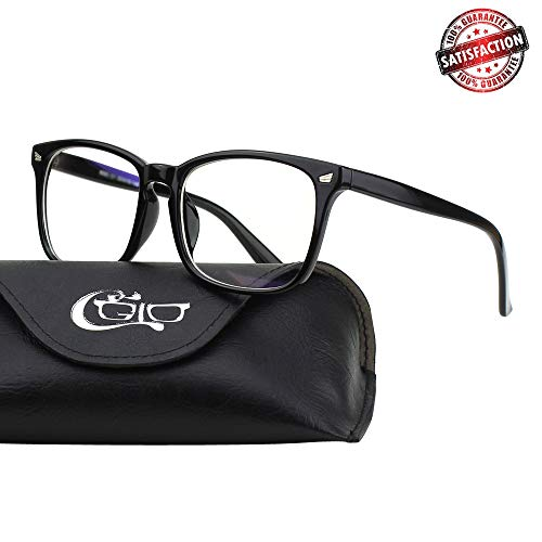 CGID CT82 Horn Oversized Blue Light Blocking Glasses,Better Sleep, Anti Glare Fatigue Blocking Headaches Eye Strain,Safety Glasses for Computer/Phone,Vintage Bold Black Frame,Transparnet Lens