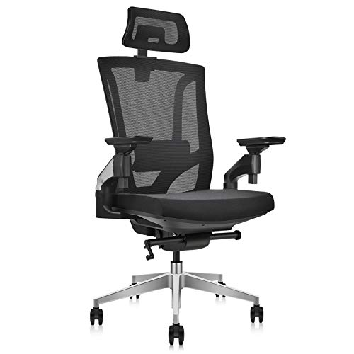 MIISLAIN Ergonomic Office Chair with Tilt Tension | Mesh backrest | 4D Adjustable Armrest | Adjustable Headrest and Standard Carpet Casters