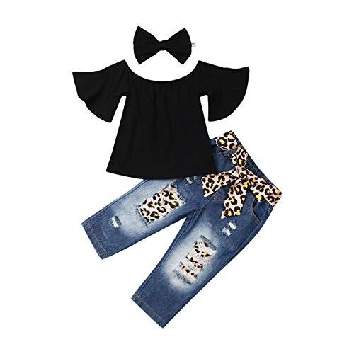 3PCS Infant Baby Girl Leopard Outfits Fly Sleeve Hollow Romper Bodysuit+Harem Pants+Headband Clothes Set (Jean Set, 12-24M)