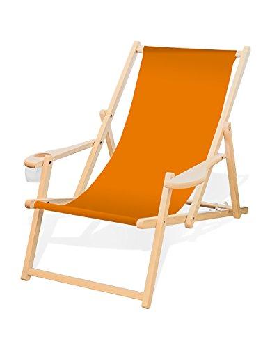 Holz-Liegestuhl mit Armlehne und Getränkehalter, Klappbar, Wechselbezug (Orange)
