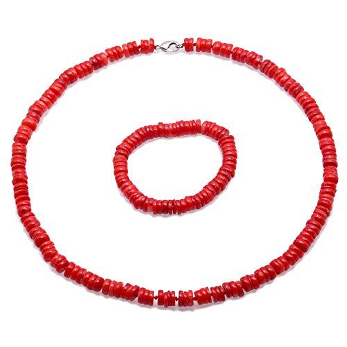 JYX - Juego de collar de coral de 8 a 9 mm, color rojo