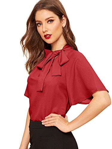 SheIn Women's Casual Side Bow Tie Neck Short Sleeve Blouse Shirt Top Medium Red