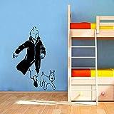 Tianpengyuanshuai Cartoon Hund Vinyl Wandaufkleber für Kinderzimmer Wandkunst Wandtattoos -57x38cm