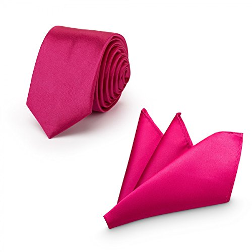 Rusty Bob - Herren-Krawatte mit Einstecktuch + Fliege - erhältlich in verschiedenen Farben - zum Anzug, zur Taufe, Hochzeits-Set - 3-teilig - Pink