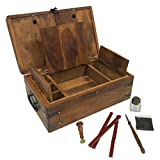 Wood Captain Writing Box Antique Vintage Style with Inkwell Nib Pen Ink Wax and Seal Nautical Storage Organization Chest