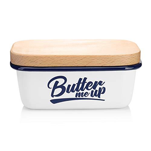 SveBake Butter Dish - Enamel Butter Boat with Beechwood Lid, Butter me up, White