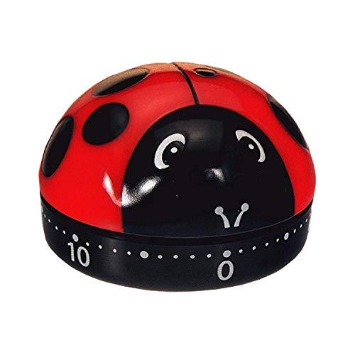 takestop®Timer ANALOGICO lieveheersbeestje 60 minuten keukenklok Count UP Countdown Anni 60 60' retro 'ALLARME SONORO rood zwart