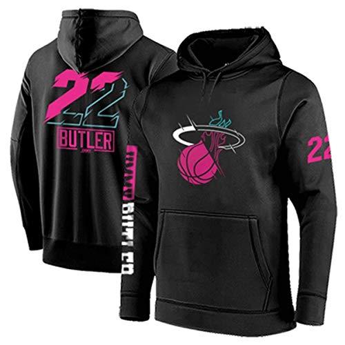 ZSPSHOP Sudadera de baloncesto NBA Miami Heat No.22 Butler para hombre con capucha engrosada, jersey suelto de baloncesto (color: negro, tamaño: mediano)