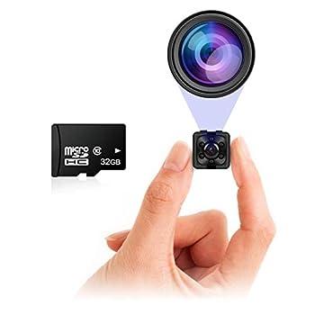 Small Hidden Mini Spy Camera - Secret Tiny Spy Cam for Home or Car with Motion Detection Night Vision Video Micro Security Nanny Cameras and Hidden Cameras Camaras Espias No Wireless WiFi Needed