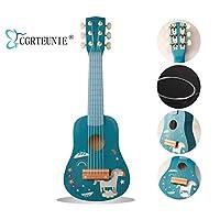 CGRTEUNIEクラシックのもと音の楽器の6弦の54CMは高いはの手製で木製のギターのウクレレの音楽の楽器の音楽の教育のおもちゃを磨き上げて子供の初心者の指練習に適合します (Unicorn)