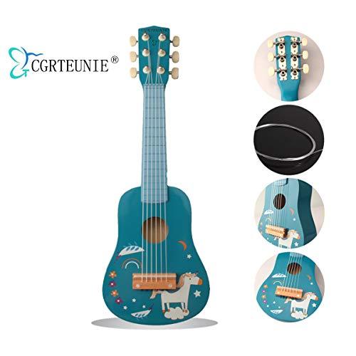 CGRTEUNIE Acústica clásica 6 cuerdas 21 pulgadas Guitarra de madera hecha a mano Ukulele Instrumento musical Juguete educativo para niños Principiante Práctica con los dedos