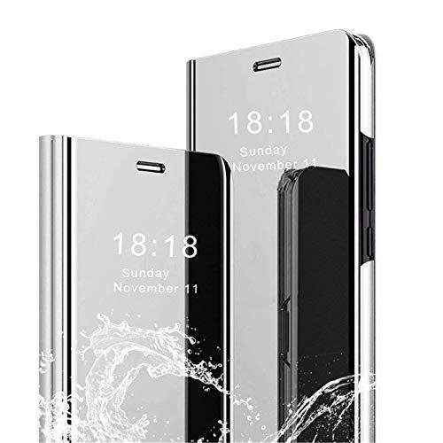 Coque pour Samsung Galaxy Note 10 Coque Placage Flip Miroir Case Smart Clear View Standing Housse Antichoc Protecteur Étui PU Cuir Cover Bumper Couverture (Argent)