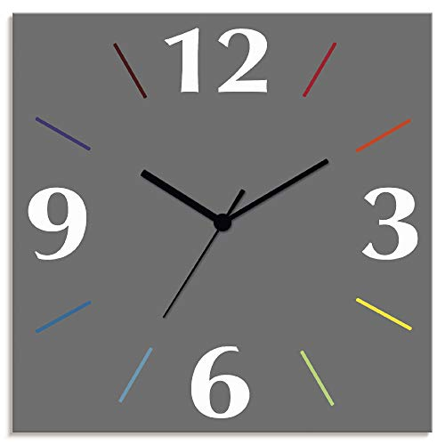 Artland Wanduhr ohne Tickgeräusche Alu Funkuhr lautlos Größe: 30x30 cm Trendfarbe Grau-Bunt S7KD