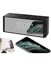 2020 バレンタインギフト ZealSound Bluetoothスピーカー 時計スピーカー ブルートゥース ワイヤレス スピーカー ポータブルスピーカー ポータブルオーディオ 置き時計 目覚まし時計 4.2 Bluetoothspeaker クロック 鏡面 マイク内蔵 3D立体高音質 ハンズフリー通話 クロック アラーム LED四階段の明るさ 3.5mmAUX入力 TFカード接続 オーディオケーブル有線再生 18-24時間連続再生可能 4000mAH 小型(黒)