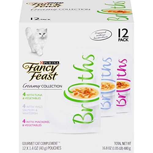 Purina Fancy Feast Wet Cat Food Complement Variety Pack, Broths Creamy Collection - (12) 1.4 oz. Pouches