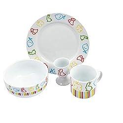 GRÄWE® Kinder-Porzellanset 8-teilig Tiere inkl. 18/10 Kinderbesteck