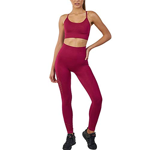 WodoWei Women's Workout Sets 2 Piece Outfits High Waisted Yoga Leggings and Sports Bra Gym Clothes (YO316-red-M)
