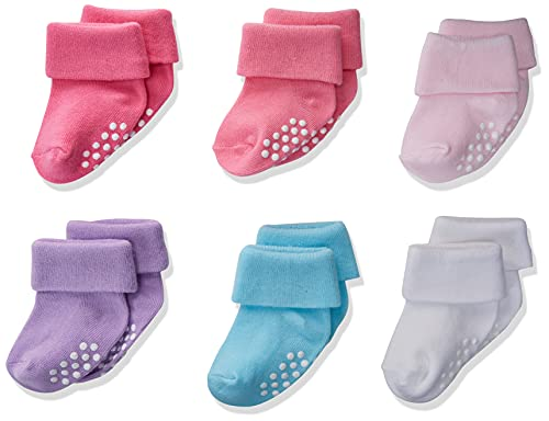 Jefferies Socks Baby Girls' Non-skid Turn Cuff 6 Pair Pack Casual Sock, Girl Multi, 3-12 Months US
