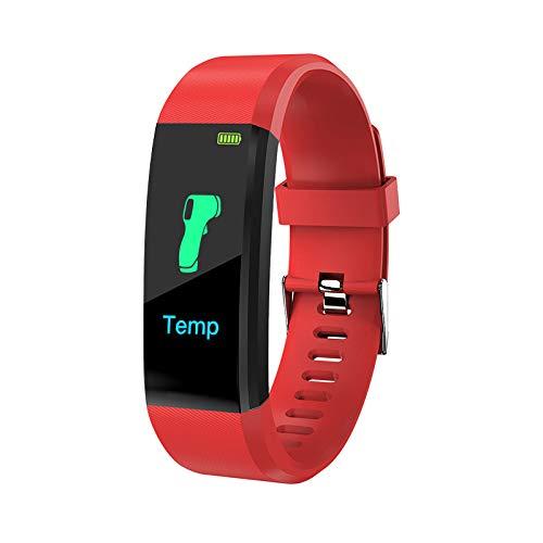 Reloj inteligente, rastreador de ejercicios con termómetro de temperatura, frecuencia cardíaca, presión arterial, monitor de oxígeno en sangre, contador de pasos, podómetro para hombres y mujeres