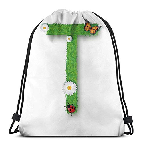 Odelia Palmer Printed Drawstring Backpacks Bags,Caps T With Flourishing Fragrance Botanical Design And Ladybug Girls Theme,Adjustable String Closure