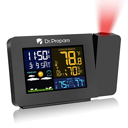 Dr. Prepare Projection Alarm Clock for Bedrooms with Indoor Outdoor Temperature Display, Dual Alarms Multi-Colored Backlight Projection Clock with Weather Forecast