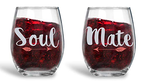 Soul Mate - 15oz Crystal Wine Glasses - Couples Stemless Wine Glasses – His And Hers Gifts Ideas For Anniversary, Weddings, Bridal Showers