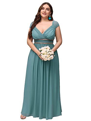 Ever-Pretty Talla Grande Vestido de para Invitada de Boda A-línea Cuello en...