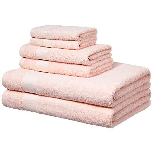Amazon Basics - Handtücher für den Alltag - 2 Badetücher, 2 Handtücher und 2 Waschlappen, Rouge