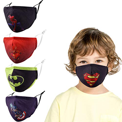 Kids Reusable Cloth Face Masks, Breathable Washable Adjustable Funny Cute Designer Cotton Fabric Protection Cover Childrens Toddler Youth mascaras para niños Sports, 3D Superhero Gift for Boys Girls