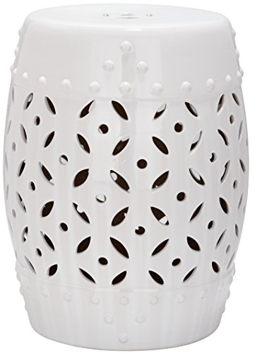 Safavieh Mali Tabouret de Jardin, Céramique, Blanc, 33 x 33 x 46,99 cm