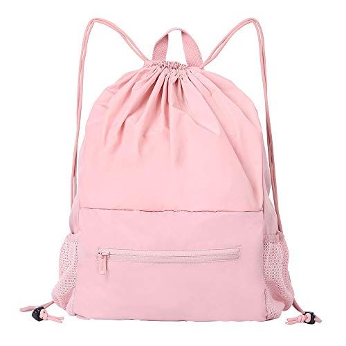 EACHY Foldable Drawstring Bag Backpack with Adjustable Strap and Bottle Pocket for GYM and School, Sport Drawstring Sackpack Cute Pink String Bag for Women Girls