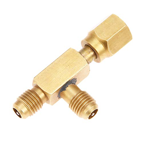 Aupoko Quick Coupler Access Tee, 1/4'' Valves Core Tee Adapter with Swivel Connector, Fits for Gauge Deep Vacuum Pump Manifold