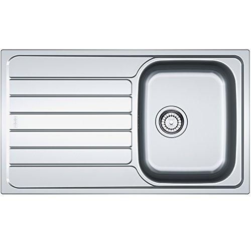 Franke Spark SKL 611 roestvrijstalen keukengootsteen spoelbak inbouwspoelbak met 1 bekken en afdruipvlak textuur linnen, grijs