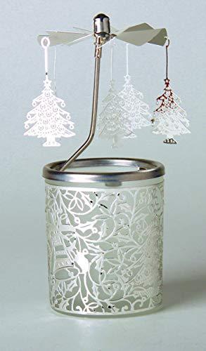 Kerzenfarm Hahn Glaskarussell Teelichthalter Windlicht 84341 Motiv Weihnachtsbaum Größe 16 x 6 x 6 cm Glaskarussel, Glas, Silber, 6 cm