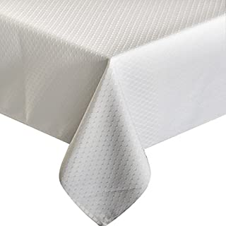 UFRIDAY 60 x 120-Inch Tablecloth with Waffle Check Design, White Rectangle Fabric Tablecloth Waterproof and Spillproof