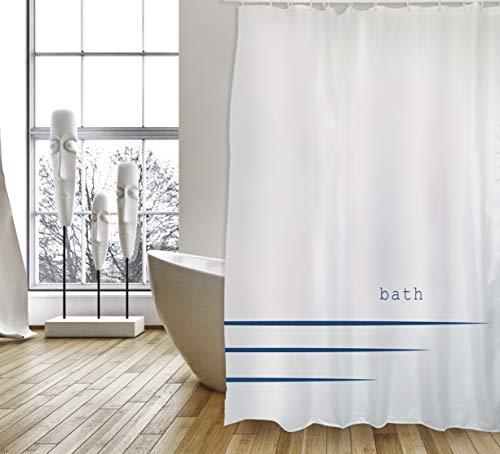 """Cotexsa by MSV Premium Anti-Schimmel Textil Duschvorhang - Anti-Bakteriell, waschbar, 100prozent wasserdicht, mit 12 Duschvorhangringen - Polyester, """"Bath """" Weiß 180x200cm – Made in Spain"""