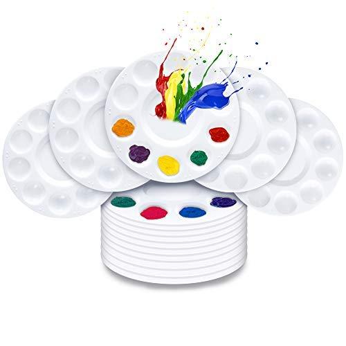 Paleta de bandeja de pintura, 15 unidades, paleta redonda de plástico para niños, adultos, estudiantes, acrílico al óleo, acuarela, manualidades, pintura de arte profesional