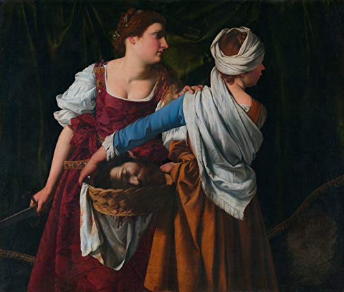 Orazio Gentileschi - Judith and her Maidservant with The Head of Holofernes,Size 24x28 inch, Canvas Art Print Wall décor