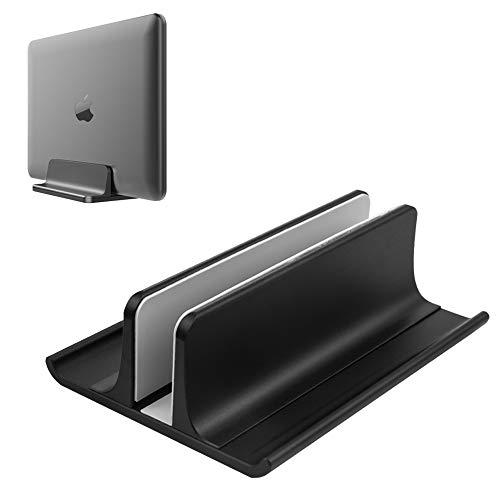 VAYDEER Vertikaler Laptopständer Halter Einstellbarer Desktop Notebook Dock Platzsparend 3 in 1 für alle MacBook Pro Air, Mac, HP, Dell, Microsoft Surface, Lenovo, Laptop bis zu 17,3 Zoll - Schwarz
