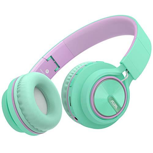 ACURE AC01 Cuffie Bluetooth senza fili Cuffie auricolari pieghevoli con microfono HD/Scheda TF/Modalità cablata rimovibile per PC TV Cellulare iPad MP3 (Verde viola)