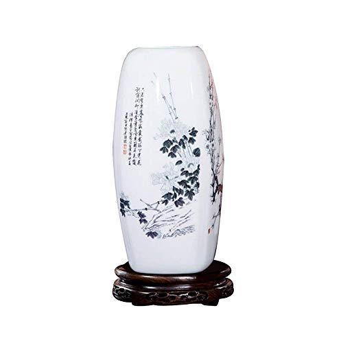 fanquare Jingdezhen Vaso di Fiori in Ceramica con Cinese bambù, Vaso Decorativo in Porcellana Fatta a Mano con Base, Altezza 30cm