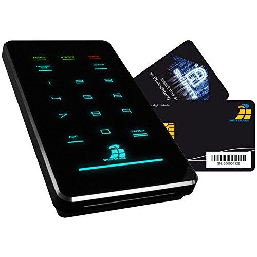 Digittrade HS256-S3 2TB SSD Externe Festplatte (6,35 cm (2,5 Zoll) USB 3.0) mit 256-Bit AES Hardware-Verschlüsselung, Smartcard und PIN schwarz