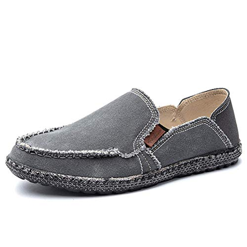 JAMONWU Mens Canvas Shoes Slip on Deck Shoes Casual Cloth Boat Shoes Non Slip Casual Loafer Flat Outdoor Sneakers (10.5 US,A_Grey10)