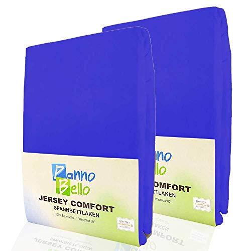 PANNOBELLO Spannbettlaken Doppelpack Royalblau 2 Stück 180 x 210 cm - 200 x 220 cm (+40 cm) Jersey 100{3d00029ecab8754bb29e1cd18ef222f6281a91b29494b9adb6ef639c3e7df2bc} Baumwolle für bis zu 40 cm Hohe Matratzen Spannbett-Tuch Bettlaken Laken auch für Topper