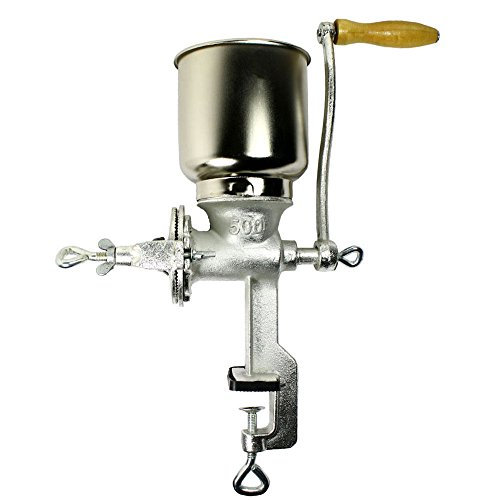 Tall Cast Iron Mill grinder hand crank manual grains oats corn wheat coffee nuts
